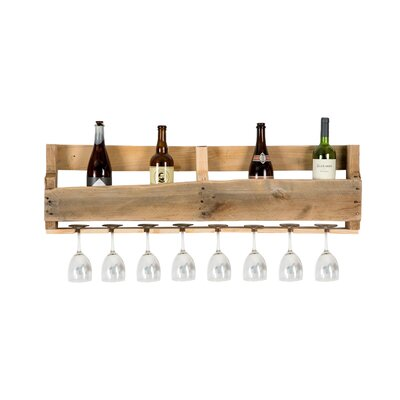 Malissa 8 Bottle Wall Mounted Wine Bottle and Glass Rack