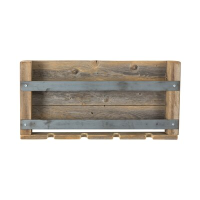 Elias Dual Bar Reclaimed Wood 4 Bottle Wall Mounted Wine Bottle and Glass Rack