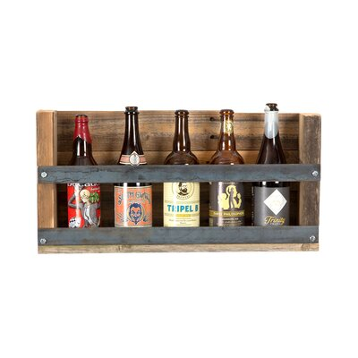 Aideen Industrial Reclaimed Wood 4 Bottle Wall Mounted Wine Bottle Rack