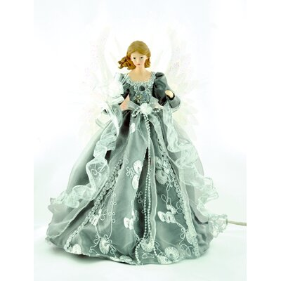 "18"" Silver/Gray Fiber Optic Angel Tree Topper THDA3019 42233605"