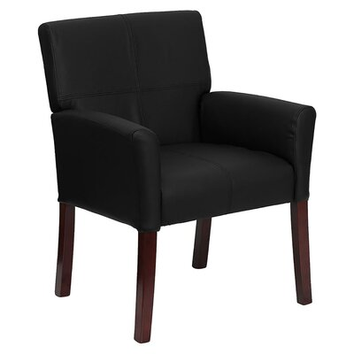 Executive Leather Reception Chair Seat Color: Black