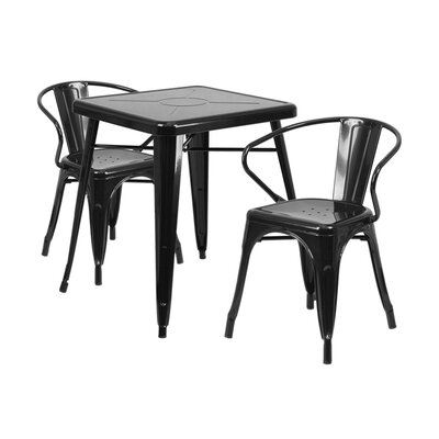 3 Piece Dining Set Finish: Black