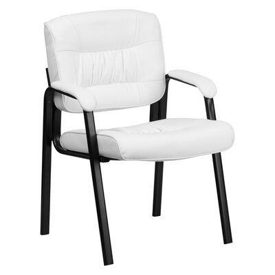 Leather Reception Chair Seat Color: White, Finish: Black