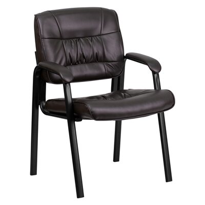 Leather Reception Chair Seat Color: Brown, Finish: Black