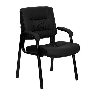 Leather Reception Chair Seat Color: Black, Finish: Black