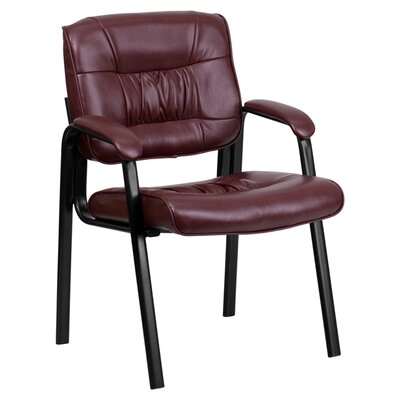 Leather Reception Chair Seat Color: Burgundy, Finish: Black
