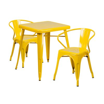 3 Piece Dining Set Finish: Yellow