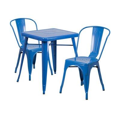 3 Piece Dining Set Finish: Blue