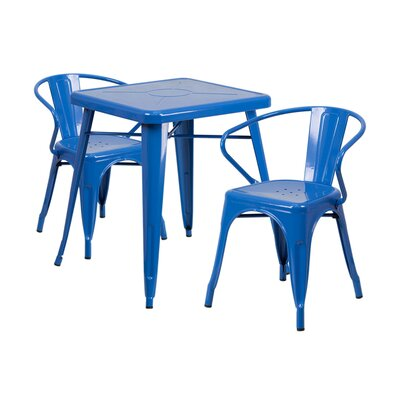 3 Piece Dining Set Finish: Blue