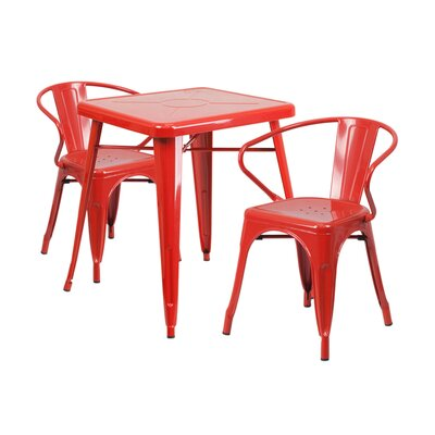 3 Piece Dining Set Finish: Red