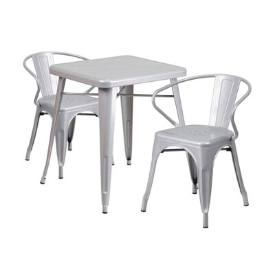 3 Piece Dining Set Finish: Silver