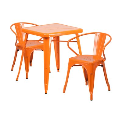 3 Piece Dining Set Finish: Orange