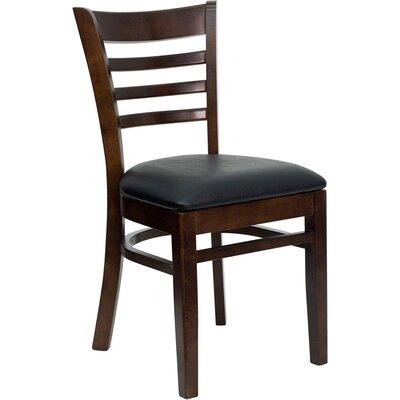 Osborne Side Chair Upholstery: Black, Finish: Walnut