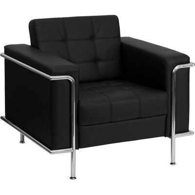 Hercules Lesley Series Leather Reception Chair Seat Color: Black