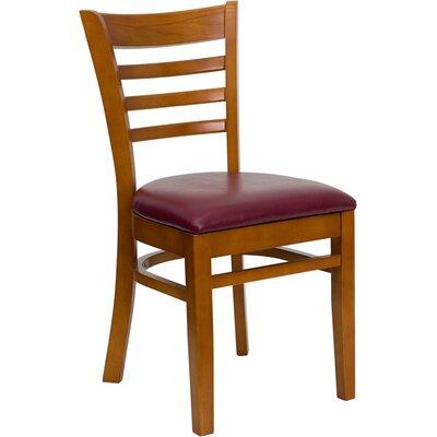 Osborne Side Chair Upholstery: Burgundy, Finish: Cherry