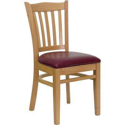 Osborne Side Chair Upholstery: Burgundy, Finish: Natural