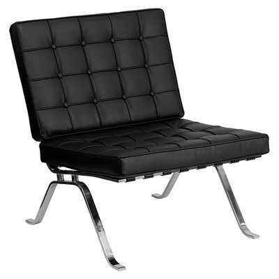 Hercules Flash Series Leather Reception Chair Seat Color: Black