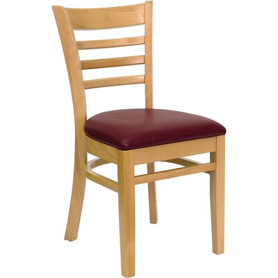 Osborne Side Chair Finish: Natural, Upholstery: Burgundy