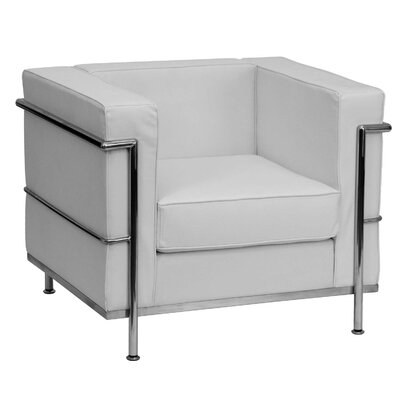 Hercules Regal Series Leather Reception Chair Seat Color: White