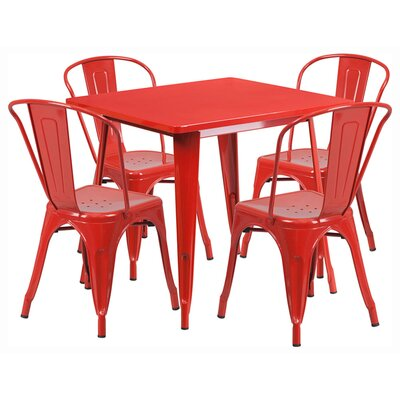 Square 5 Piece Dining Set Finish: Red