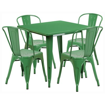 Square 5 Piece Dining Set Finish: Green