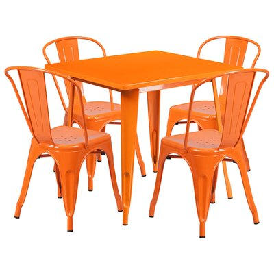 Square 5 Piece Dining Set Finish: Orange
