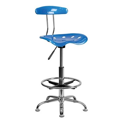 Tractor Adjustable Height Swivel Bar Stool Finish: Bright Blue