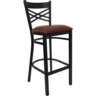 Buster 31 Bar Stool Upholstery: Burgundy