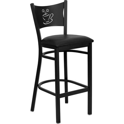 Buster 30 inch Bar Stool Upholstery: Black