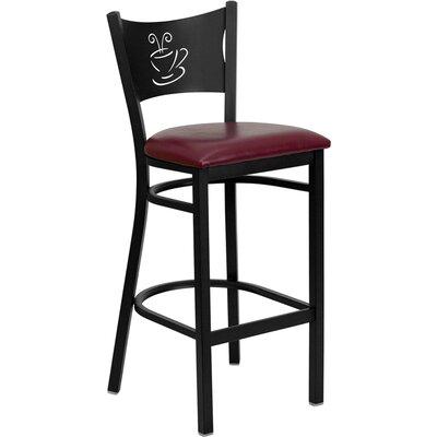 Buster 30 Bar Stool Upholstery: Burgundy