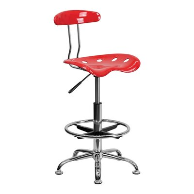 Tractor Adjustable Height Swivel Bar Stool Finish: Cherry Tomato
