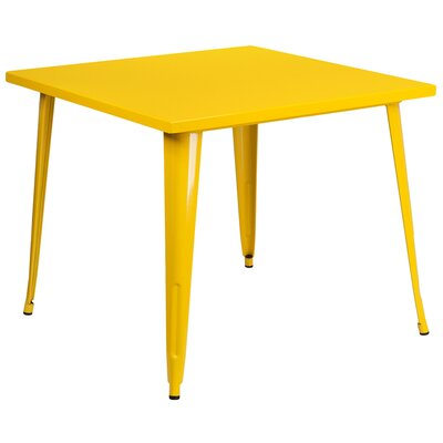 Square Metal Indoor/Outdoor Pub Table Finish: Yellow