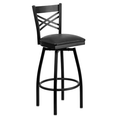 32 Swivel Bar Stool Upholstery: Black