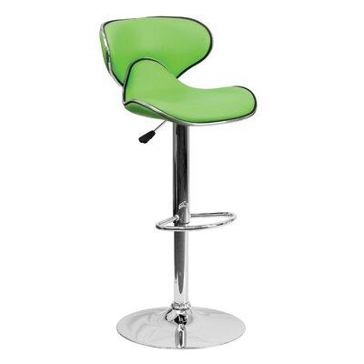 32.5 inch Swivel Bar Stool Upholstery: Green