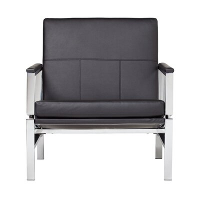 Atlas Bonded Leather Lounge Chair Upholstery: Black