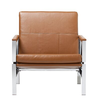 Atlas Bonded Leather Lounge Chair Upholstery: Caramel