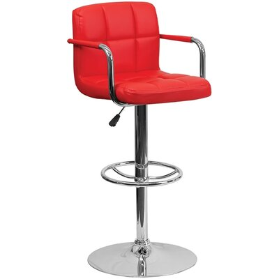 24.75 inch Swivel Bar Stool Upholstery: Red