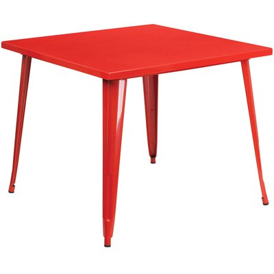 Square Metal Indoor/Outdoor Pub Table Finish: Red