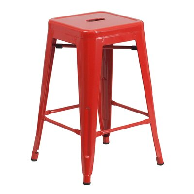 24 inch Bar Stool Finish: Red