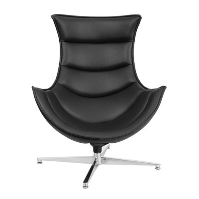 Leather Swivel Lounge Chair Upholstery: Black