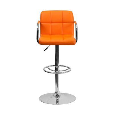 Eamor 33.5 Swivel Bar Stool Upholstery: Orange