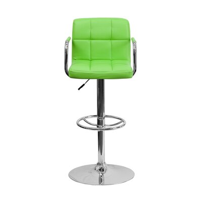 Eamor 33.5 Swivel Bar Stool Upholstery: Green