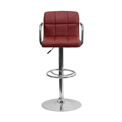 Eamor 33.5 Swivel Bar Stool Upholstery: Burgundy