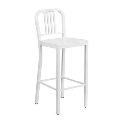 Charles 24'' Bar Stool Finish: White