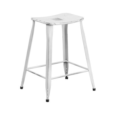 Henriquez 24 Bar Stool Finish: Distressed White