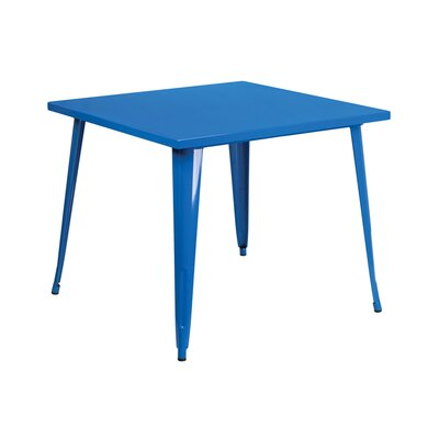 Square Metal Indoor/Outdoor Pub Table Finish: Blue