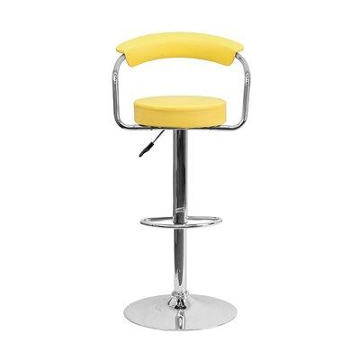 Uma Adjustable Height Swivel Bar Stool Upholstery: Yellow