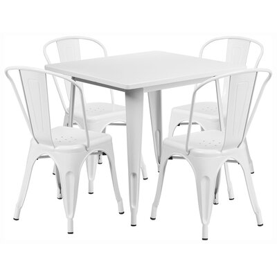 Square 5 Piece Dining Set Finish: White