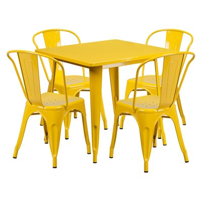 Square 5 Piece Dining Set Finish: Yellow