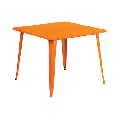 Square Metal Indoor/Outdoor Pub Table Finish: Orange